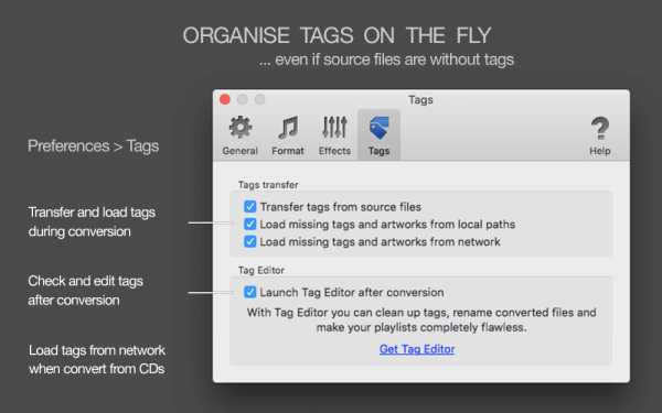 To MP3 Converter for Mac - Transfer tags from source files, load tags from the network, load missing tags from folder and file names