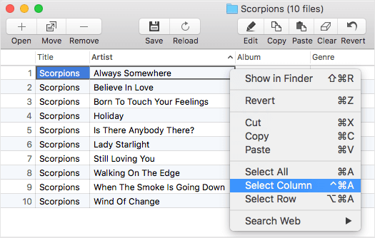 How to select few columns in Amvidia Tag Editor for Mac