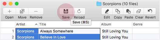 Save to embed changed id3 tags into files with Tag Editor for Mac