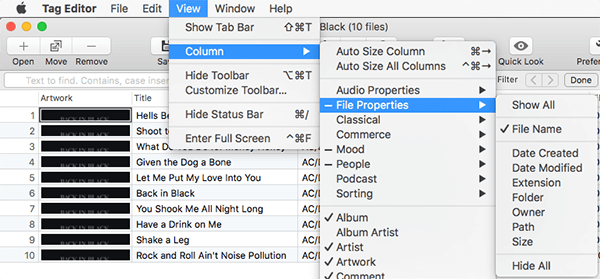 Hide or Show column set in Tag Editor for Mac