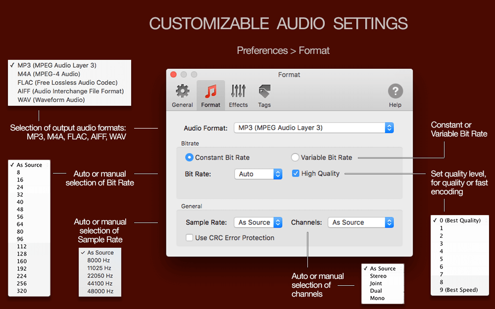 Audio settings in To Audio converter for Mac