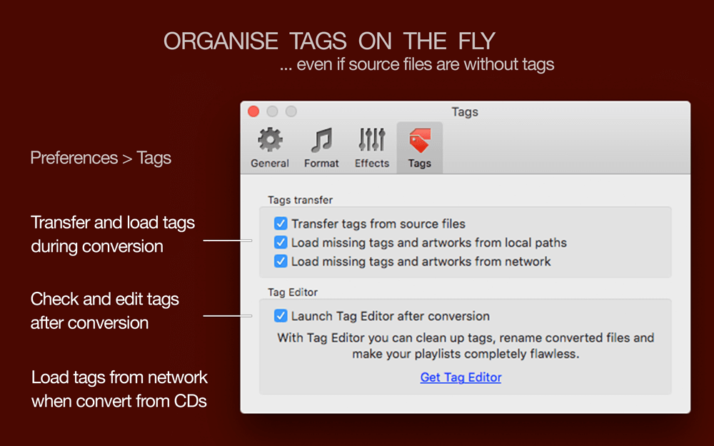 Tag organising with To Audio Converter for Mac