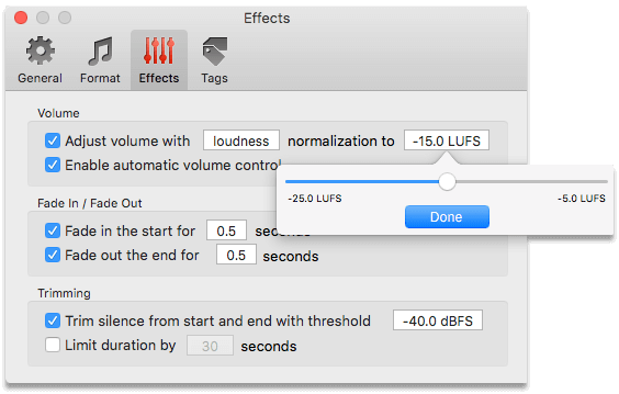R128 Loudness Normalization in To Audio Converter for Mac