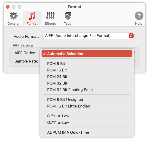 To Audio Converter - AIFF Format Preferences - list of AIFF codecs