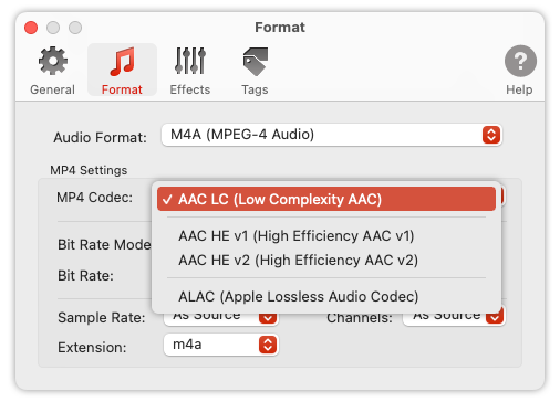 To Audio Converter - MP4/M4A Preferences - List of supported codecs