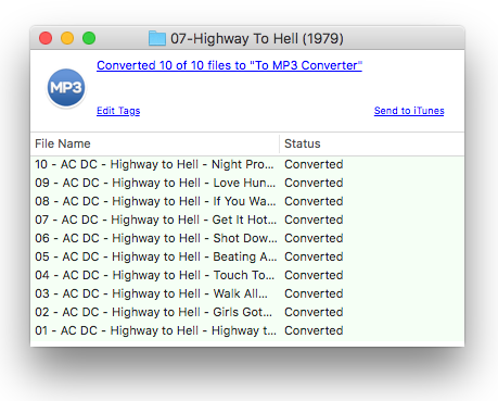 To MP3 Converter progress window after conversion
