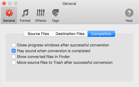 Completion of converson preferences in To MP3 Converter for Mac OS X