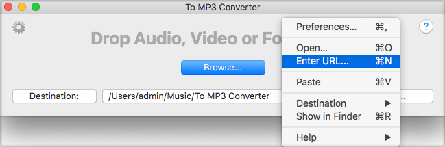 Right-click and choose Enter URL to convert Youtube video to MP3