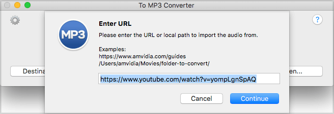 Enter Youtube URL to convert video to MP3 with To MP3 Converter for Mac by Amvidia