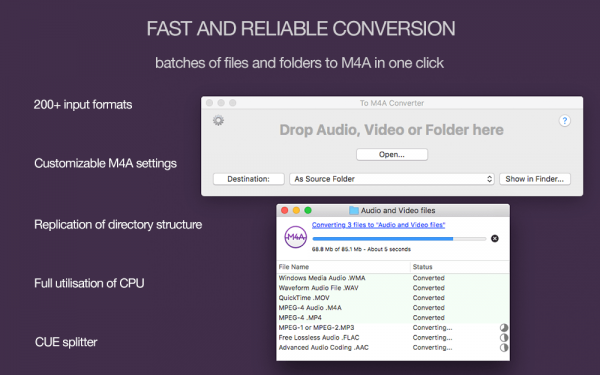 To M4A Converter for Mac - Batches of files and folders to MP4 M4A in one click, more than 200 source formats, customizable MP4 M4A settings, CUE splitter