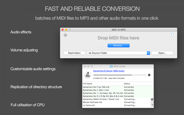 MIDI to MP3 for Mac - Fast and reliable conversion of MIDI files to MP3 in one click, batches of MIDI files to MP3 and other audio formats in one click