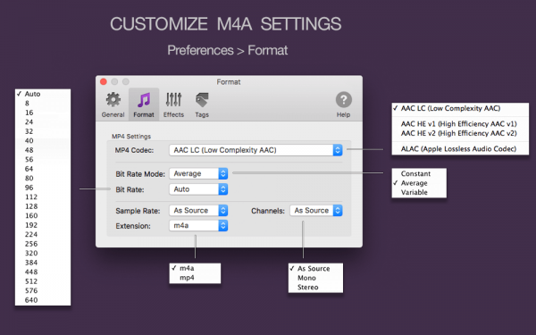 To M4A Converter for Mac - Customize MP4 M4A settings, AAC LC, ALAC, AAC HE codecs, Bit Rate Mode, Auto-selection of audio parameters