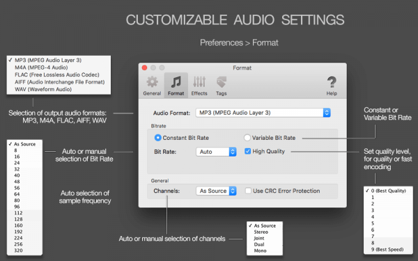 MIDI to MP3 for Mac - Custom output format - MP3, MP4, M4A, ALAC, FLAC, WAV, AIFF, auto-selection of audio parameters, auto-selection of bit rate, Constant Bit Rate, Variable Bit Rate