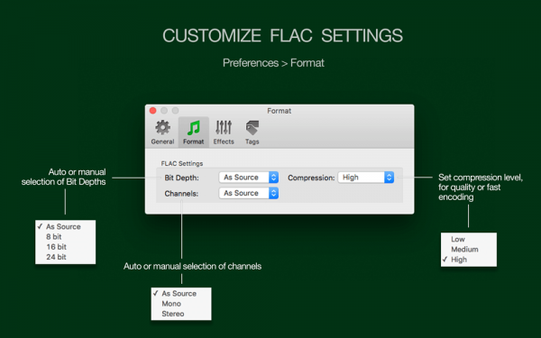 To FLAC Converter for Mac - Customizable FLAC settings, Preferences - Format, auto-selection of settings