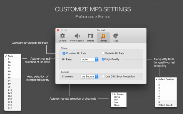 MP3 Normalizer for Mac - Customization of MP3 settings, auto-selection of parameters, automatic bit rate, automatic sample rate, automatic channels, Variable Bit Rate, Constant Bit Rate