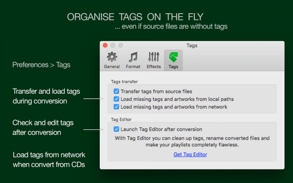 To FLAC Converter for Mac - Transfer tags, load tags from network or folder and file names, auto-launch Tag Editor after successful conversion
