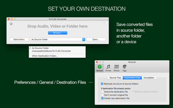 To FLAC Converter for Mac - Custom destination folder, conversion to the source folder, replication of the structure of source directory,