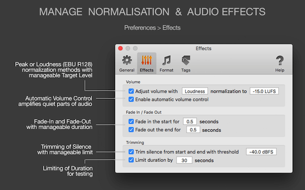 MP3 Normalizer for Mac - Manage normalization and audio effects, Loudness EBU R128 and Peak normalization, Automatic Volume Control, trimming, fade in, fade out effects, limiting duration of output audio