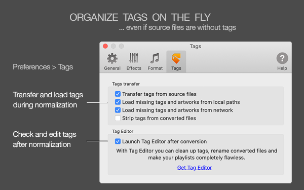 MP3 Normalizer for Mac - improve and load missing tags when normalizing, load tags from MusicBrainz or Discogs, load tags from source files, load tags from file names or folder names
