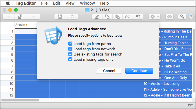 Automatic Loading of Audio Tags with Tag Editor for Mac OS X - Amvidia