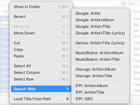Search Web for cover arts command in Tag Editor for Mac