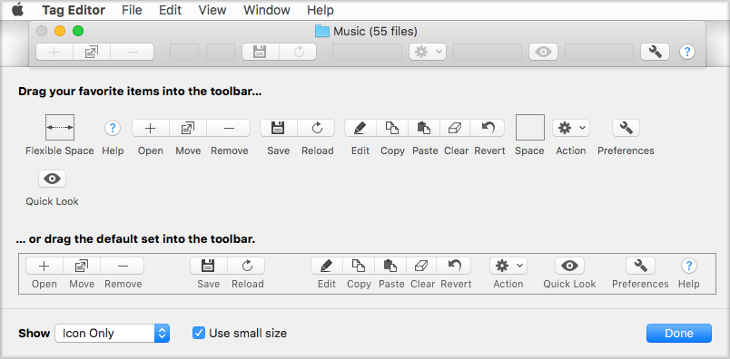 Toolbar customization panel in Amvidia Tag Editor for Mac