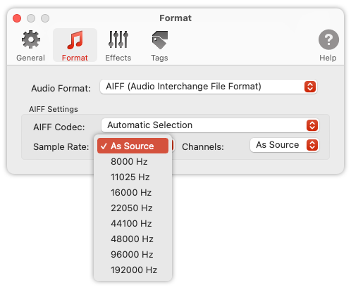 To Audio Converter - AIFF Format Preferences - list of Sample Rates