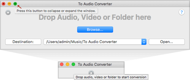 Collapse To Audio Converter for Mac to lock it in front of other apps