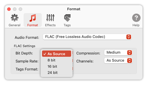 To Audio Converter - FLAC Format Preferences - list of Bit Depths