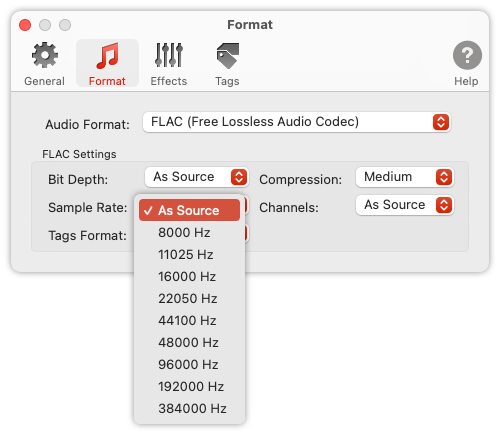 To Audio Converter - FLAC Format Preferences - list of Sample Rates