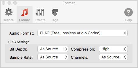 Default setting of FLAC format in To Audio Converter for Mac