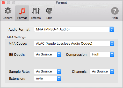 M4A format preferences for importing CD to iTunes with To Audio Converter for Mac