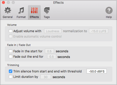 Trim silence before and after songs with To Audio Converter for Mac