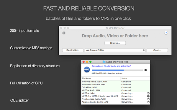 Fast and reliable conversion. Batches of audio files and folders to MP3 in one click!