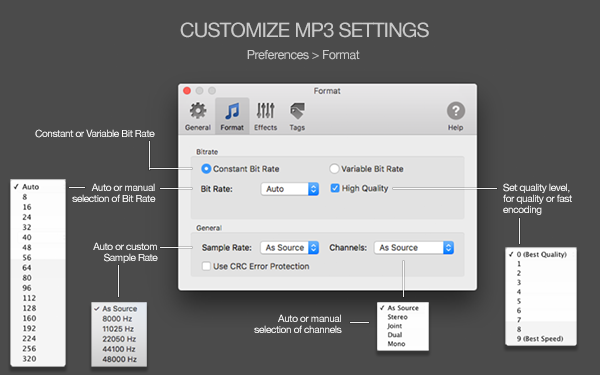 To MP3 Converter for Mac - Customize MP3 settings - Preferences - Format. Auto Selection of settings