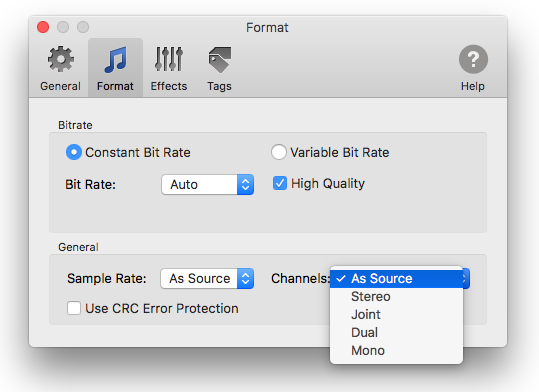 Audio channels customisation in To MP3 Converter for Mac