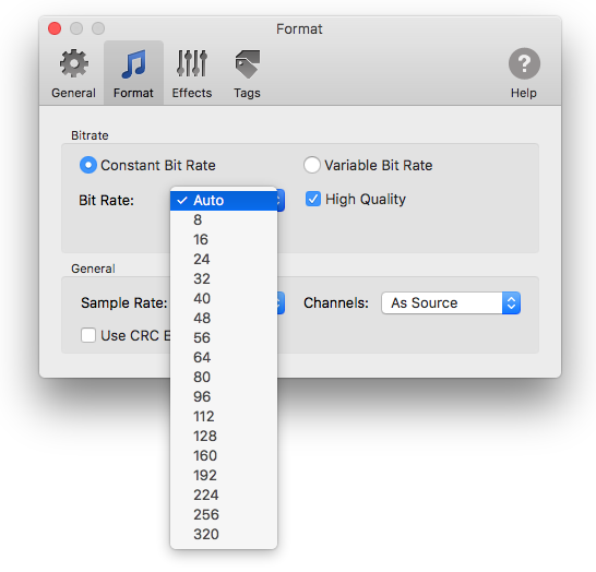 Constant Bitrate settings in To MP3 Converter for Mac
