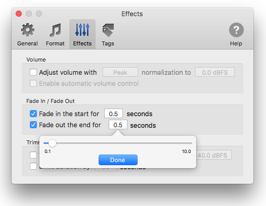 Fade-in and Fade-out effects in To MP3 Converter for Mac