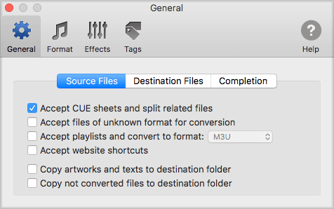 Source files tab in General preferences of To MP3 Converter