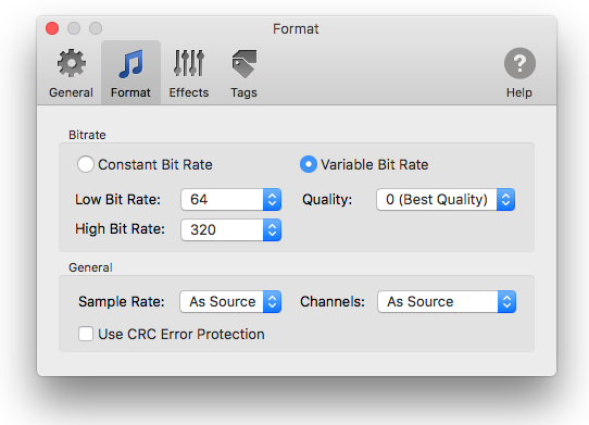 Variable bitrate settings in To MP3 Converter for Mac