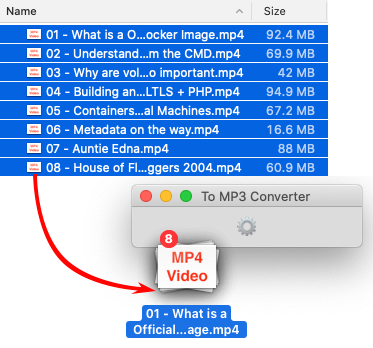To MP3 Converter for Mac OS - Dropping MP4 files