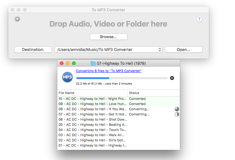 To MP3 Converter Main Window and Progress Window