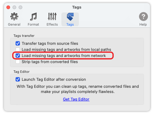To MP3 Converter for Mac OS - Load missing tags from network.