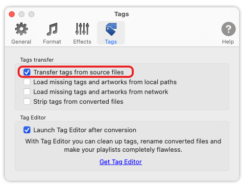 To MP3 Converter for Mac OS - Transfer tags from source files.