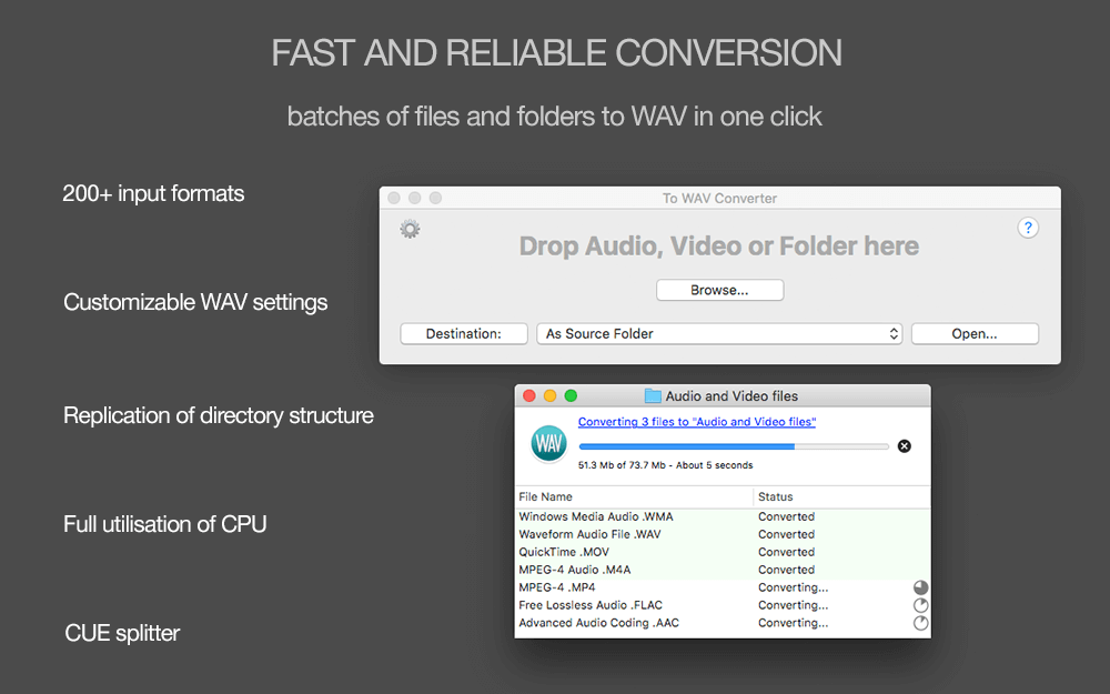 To WAV Converter for Mac OS X - Amvidia