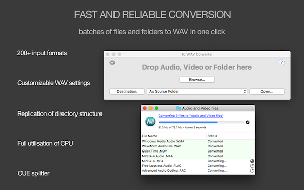 To WAV Converter for Mac - Fast and reliable conversion, batches of files and folders to customizable WAV in one click