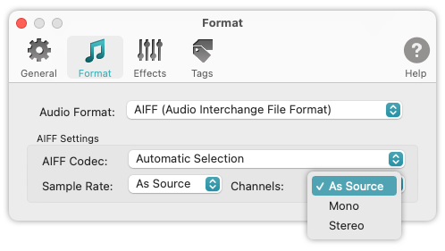 To WAV Converter for Mac OS - AIFF - Supported Channels