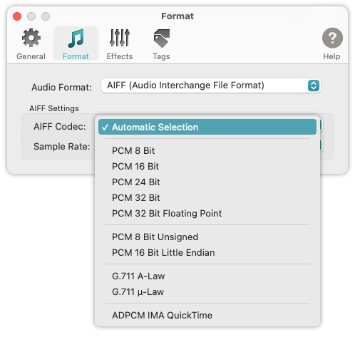 To WAV Converter for Mac OS - AIFF Codecs