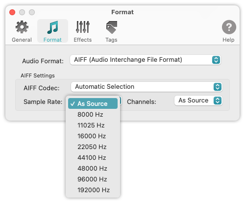 To WAV Converter for Mac OS - AIFF Format - Supported Sample Rates