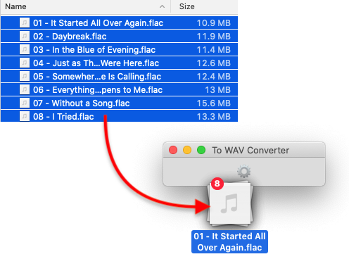 To WAV Converter for Mac OS - Dropping FLAC files